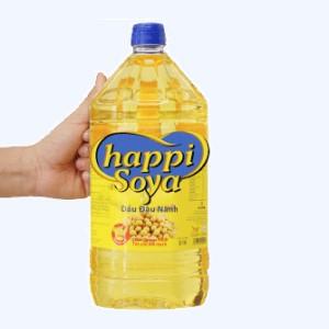 Dầu đậu nành nguyên chất Happi Soya can 2 lít
