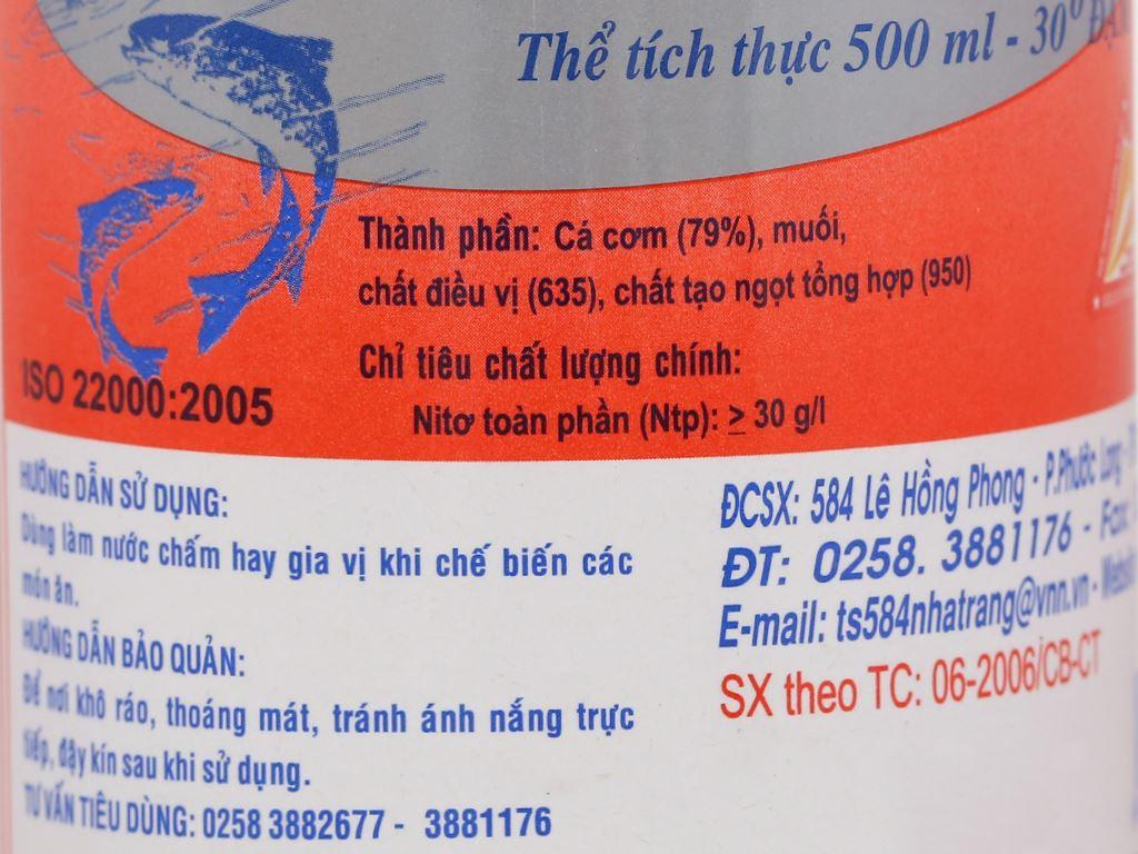 Nước mắm nhỉ cá cơm 584 Nha Trang 30 độ đạm chai 500ml 3