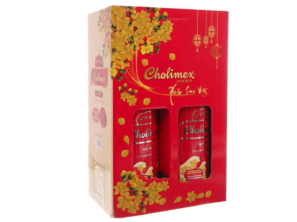 Hộp quà Tết nước mắm Cholimex 35 độ đạm 2 chai 500ml 2