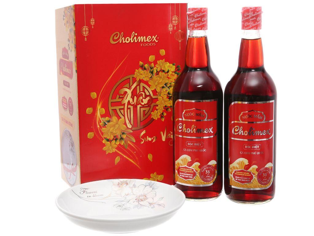 Hộp quà Tết nước mắm Cholimex 35 độ đạm 2 chai 750ml 1