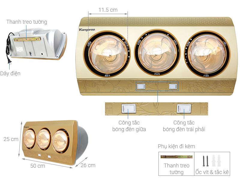 Thông số kỹ thuật Đèn sưởi Kangaroo KG3BH01 825W