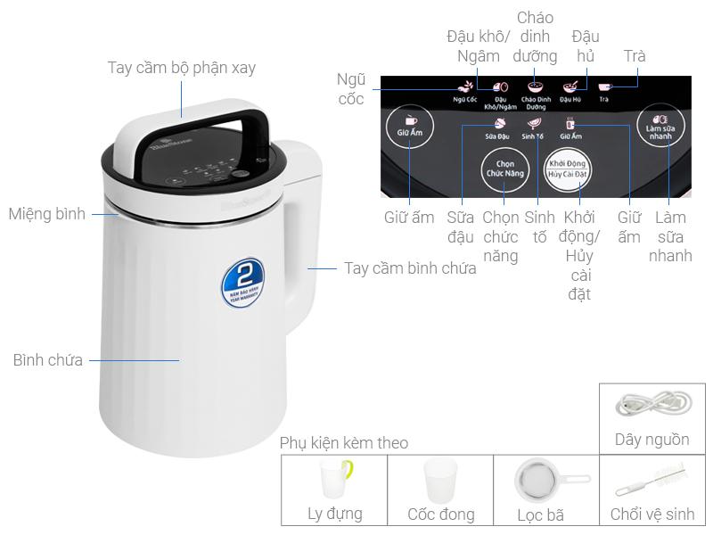 Thông số kỹ thuật Máy làm sữa đậu nành Bluestone SMB-7329 1.3 lít