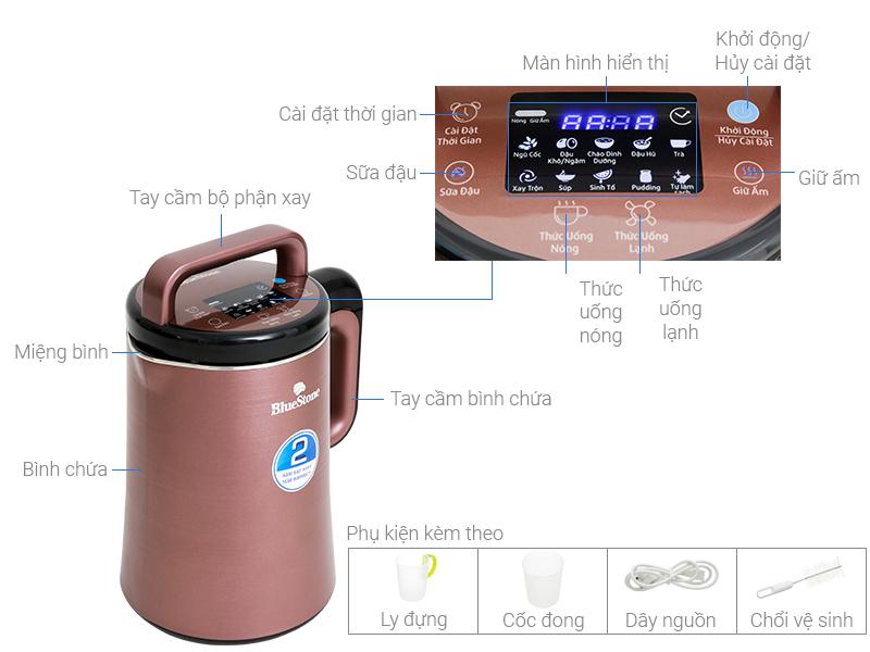 Thông số kỹ thuật Máy làm sữa đậu nành Bluestone SMB-7393 1.3 lít