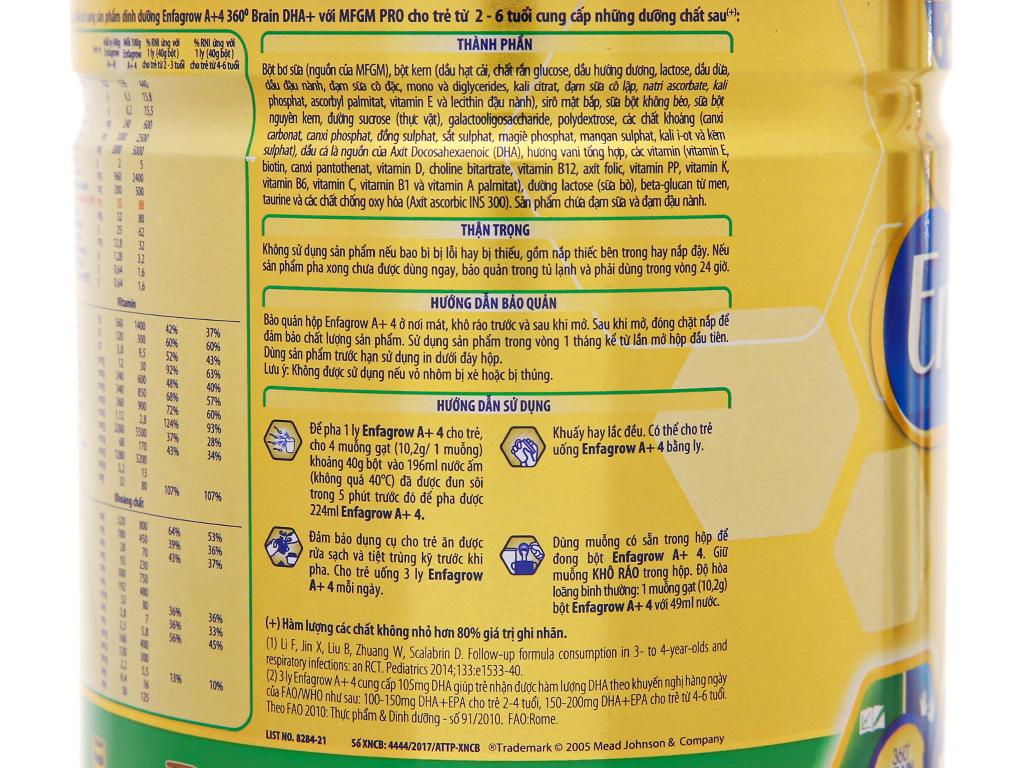 Sữa bột Enfagrow A+ 4 vani lon 870g (2 - 6 tuổi) 11