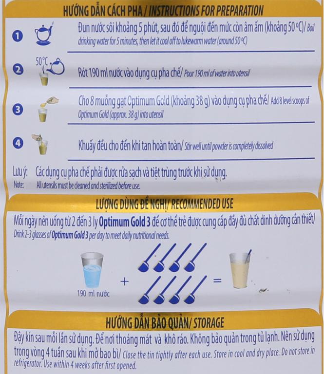 Sữa bột Optimum Gold 3 lon 1,5kg (1 - 2 tuổi) 8