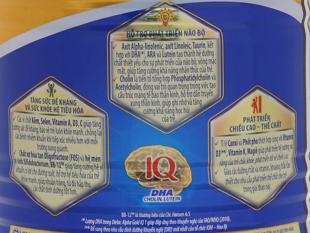 Sữa bột Dielac Alpha Gold IQ 1 lon 400g 9