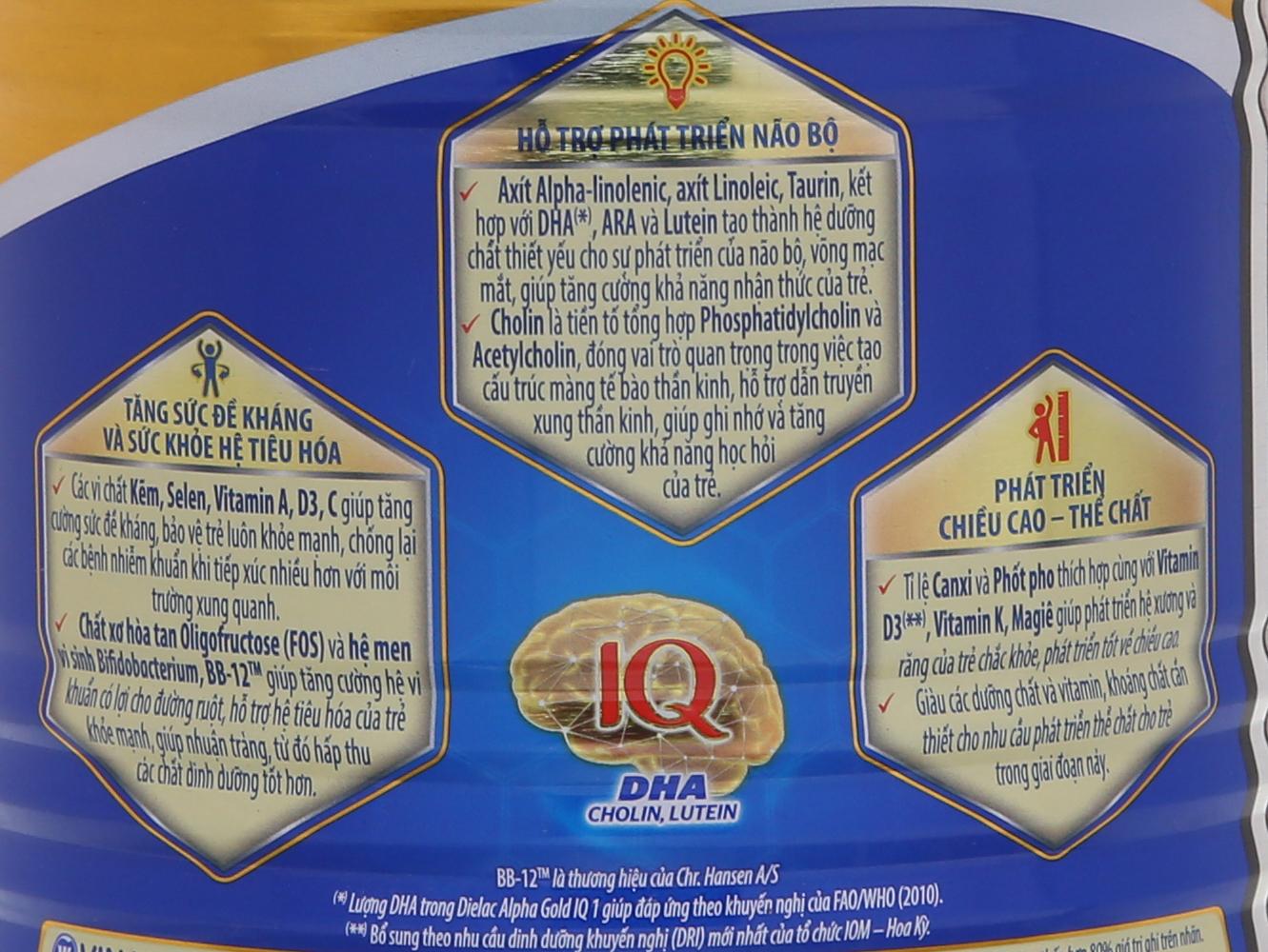 Sữa bột Dielac Alpha Gold IQ 2 lon 400g 8