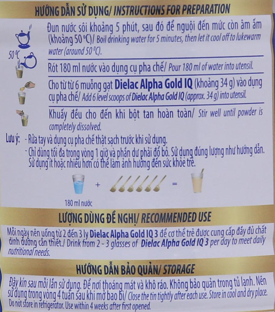 Sữa bột Dielac Alpha Gold IQ 3 lon 400g (1 - 2 tuổi) 8