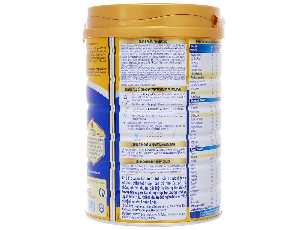 Sữa bột Dielac Alpha Gold IQ 3 lon 900g (1 - 2 tuổi) 4
