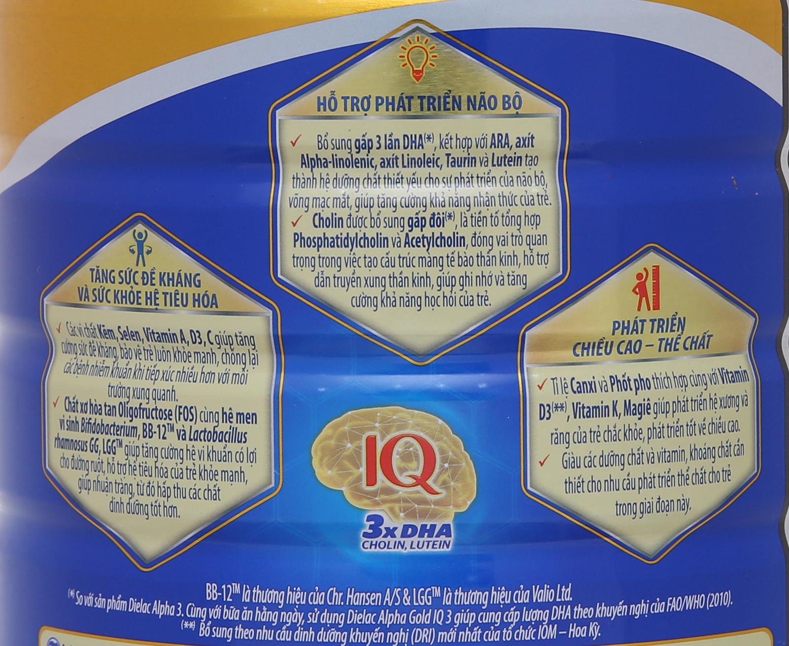 Sữa bột Dielac Alpha Gold IQ 3 lon 900g (1 - 2 tuổi) 8