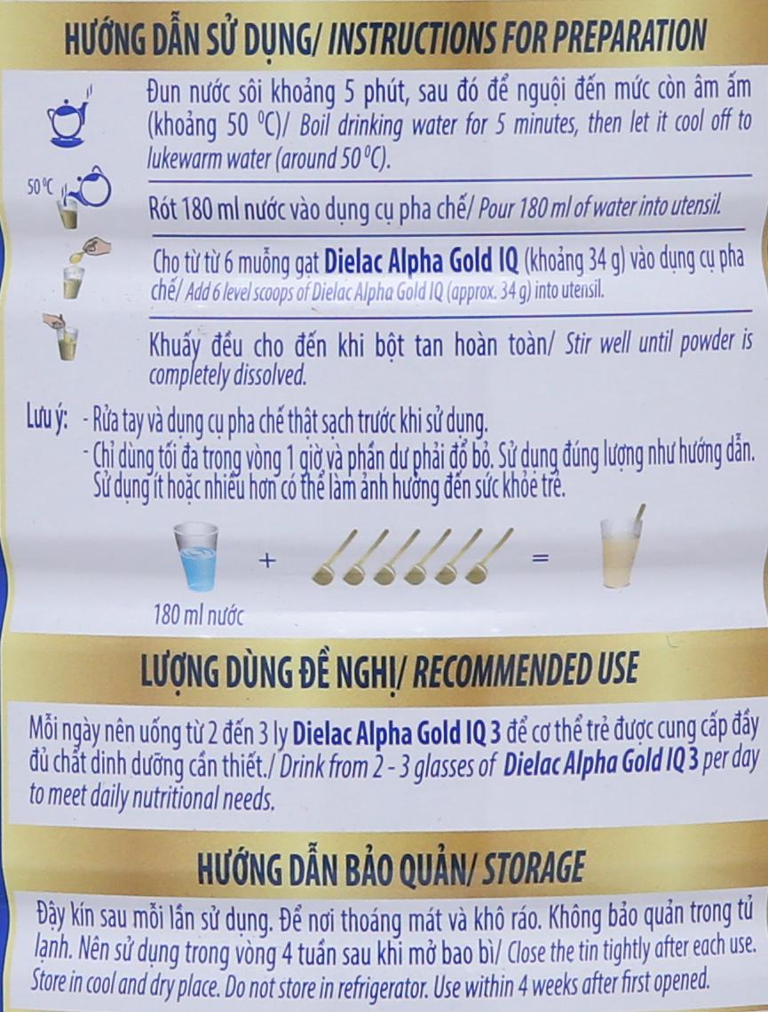 Sữa bột Dielac Alpha Gold IQ 3 lon 900g (1 - 2 tuổi) 9