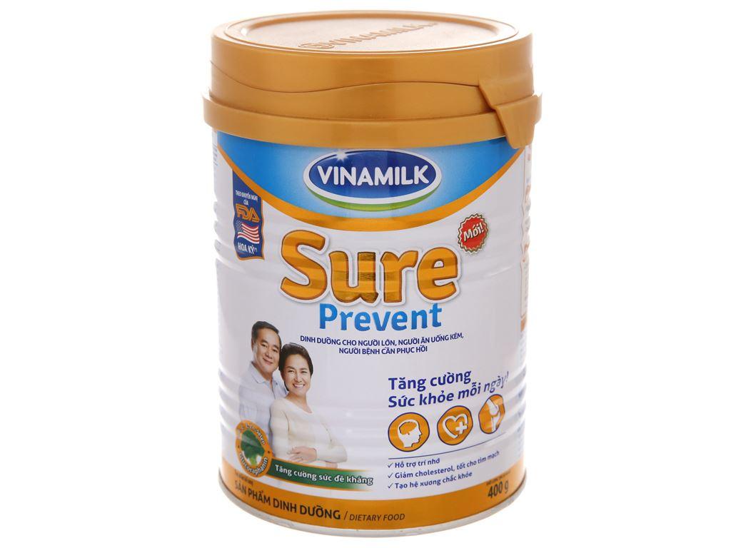 Sữa bột Vinamilk Sure Prevent ít ngọt lon 400g (cho người lớn tuổi) 1