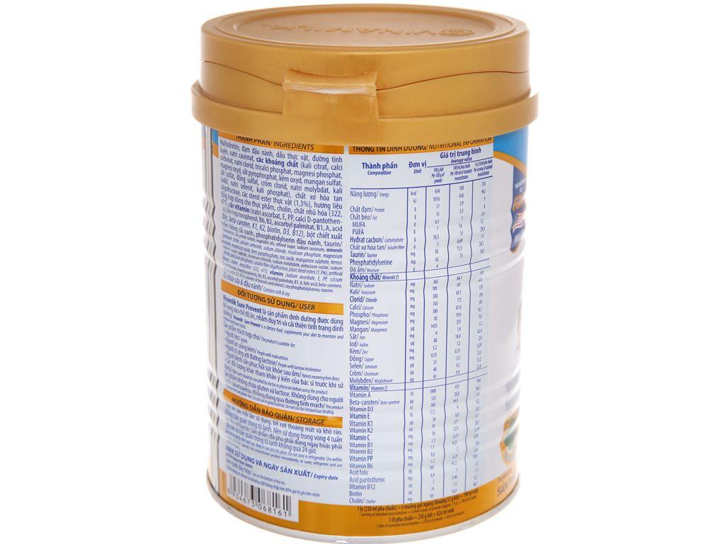 Sữa bột Vinamilk Sure Prevent ít ngọt lon 400g (cho người lớn tuổi) 3