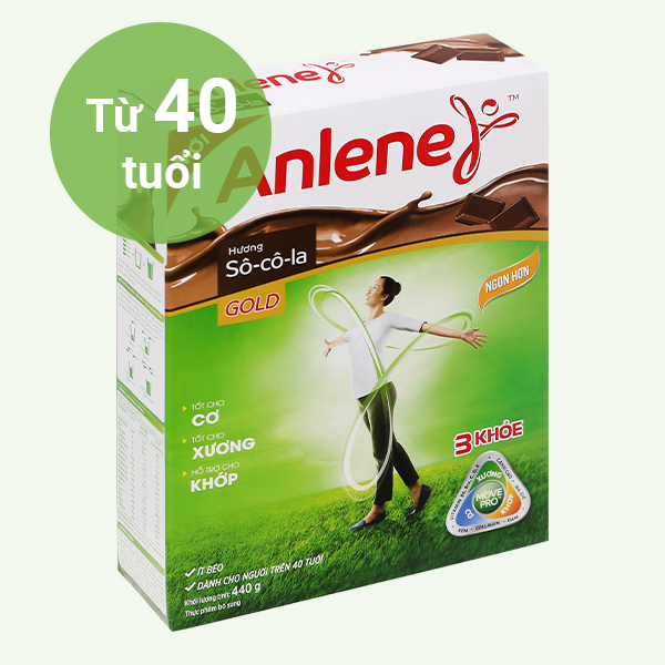 Sữa bột Anlene Gold Movepro socola hộp 440g (trên 40 tuổi)