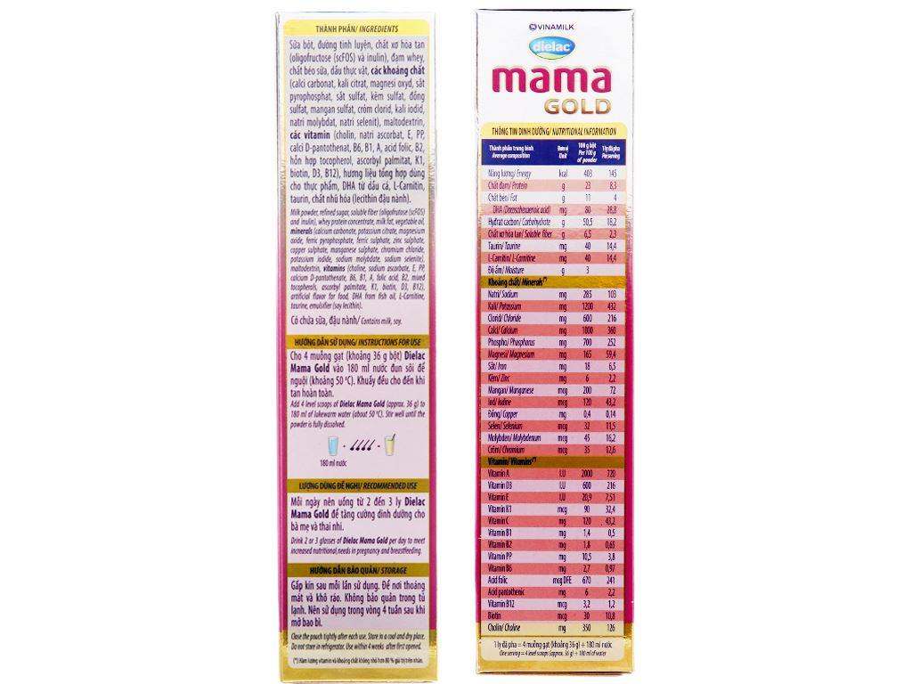 Sữa bột Dielac Mama Gold vani hộp 400g 4