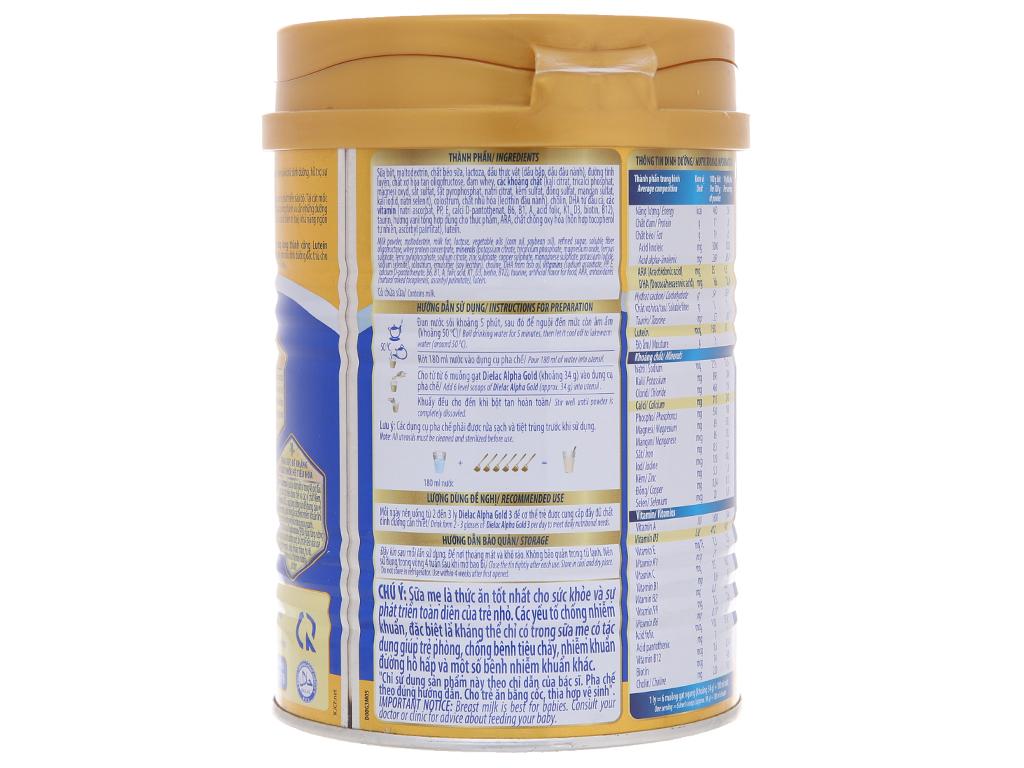 Sữa bột Dielac Alpha Gold 3 lon 400g (1 - 2 tuổi) 2