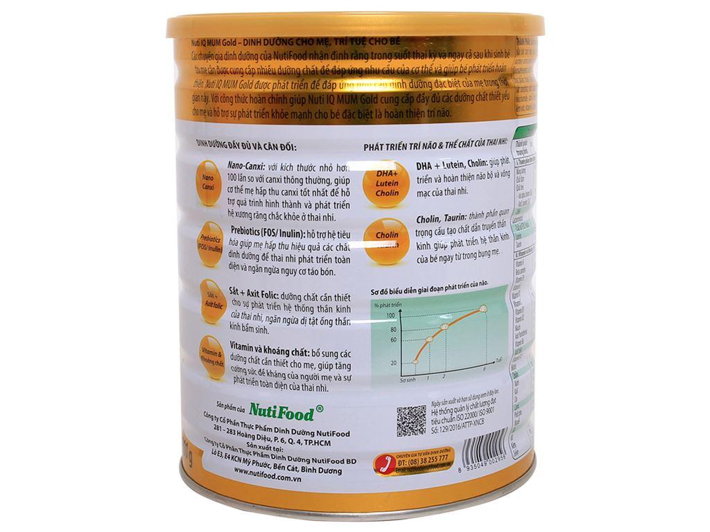 Sữa bột NutiFood Nuti IQ Mum Gold vani lon 900g 2