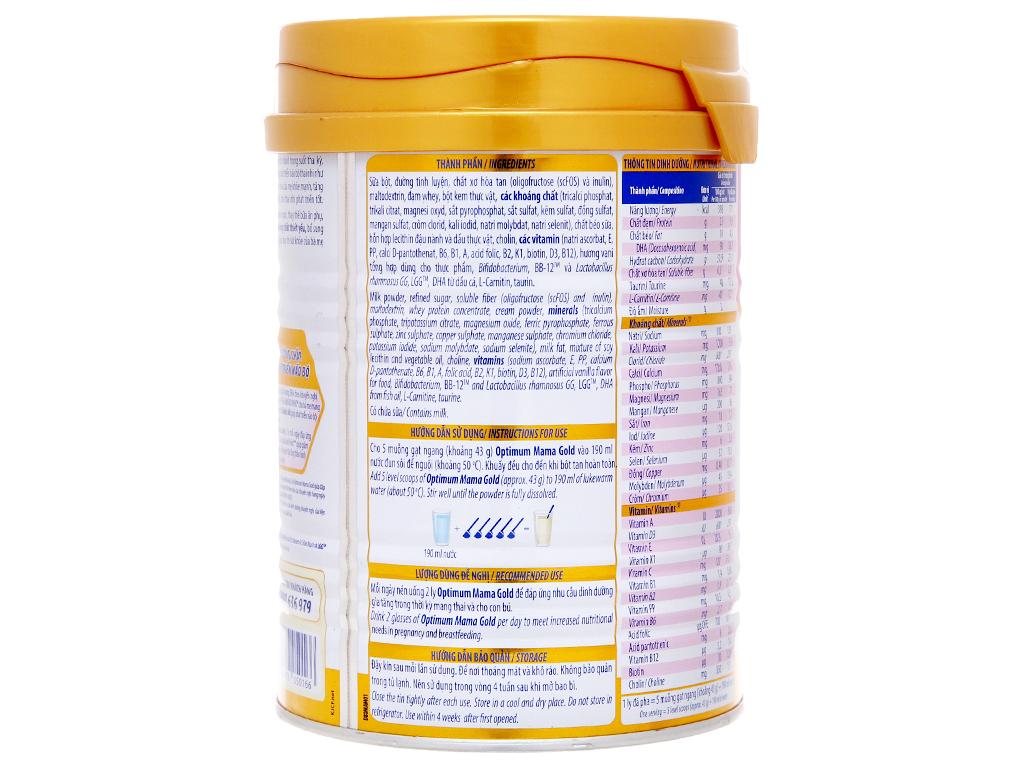 Sữa bột Optimum Mama Gold vani lon 400g 4