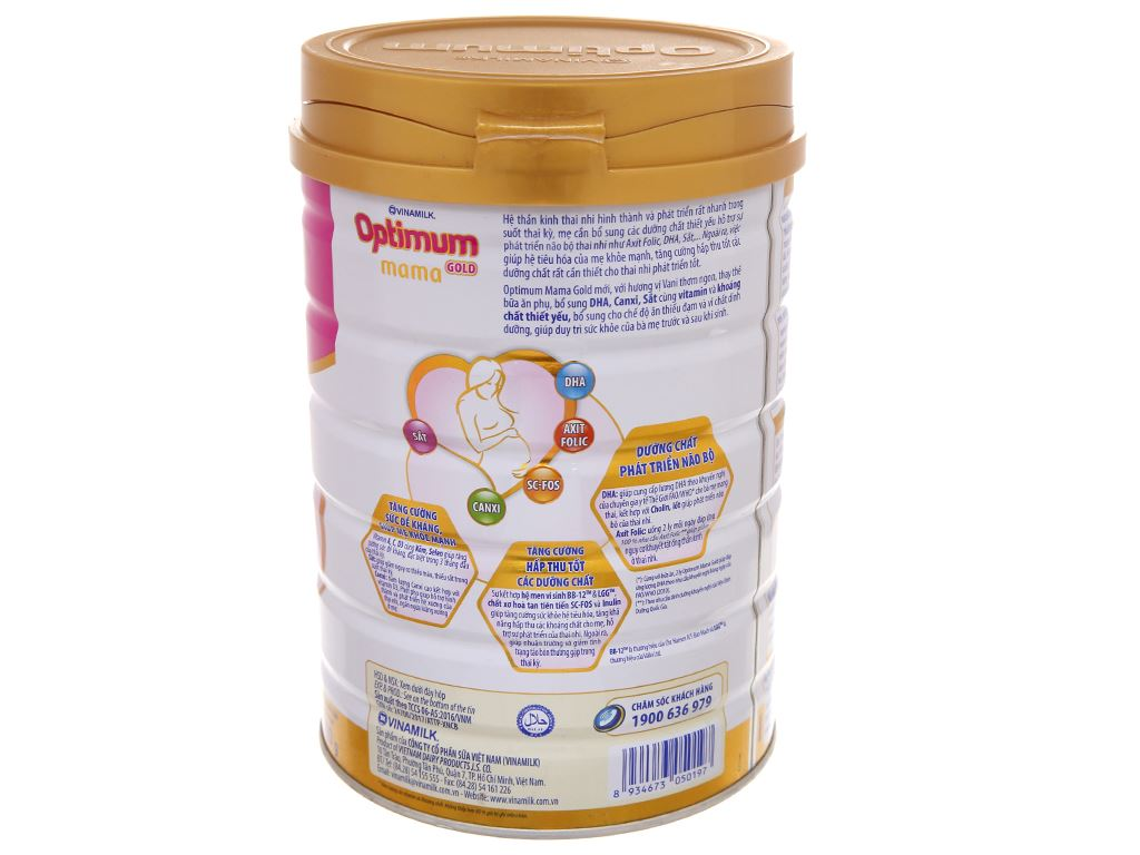 Sữa bột Optimum Mama Gold vani lon 900g 2