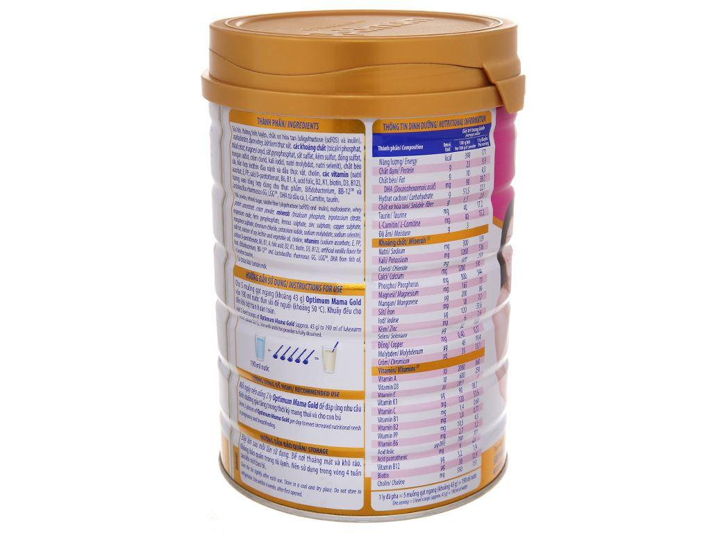 Sữa bột Optimum Mama Gold vani lon 900g 3