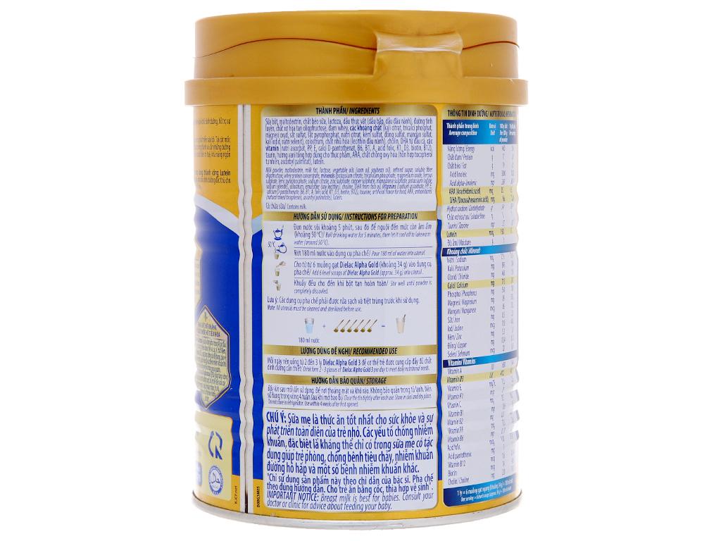 Sữa bột Dielac Alpha Gold 3 vani lon 400g 2
