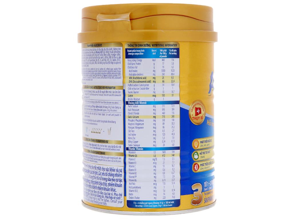 Sữa bột Dielac Alpha Gold 3 vani lon 400g 3