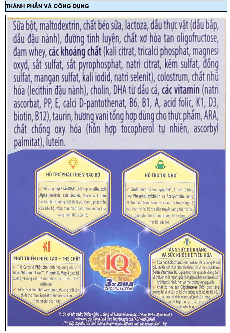 Sữa bột Dielac Alpha Gold 3 vani lon 400g 6