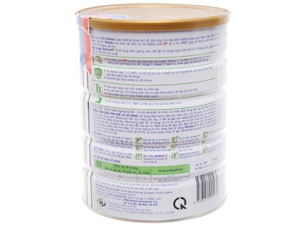 Sữa bột Abbott Similac Eye-Q 2 Plus (HMO) vani lon 900g (6 - 12 tháng) 2