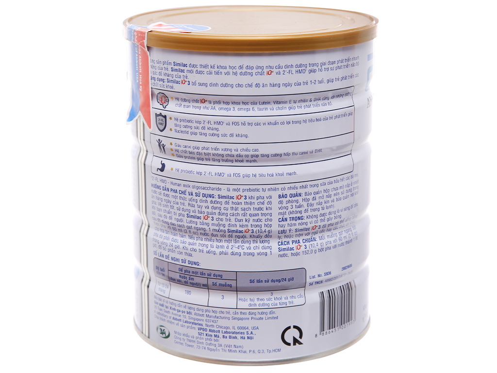 Sữa bột Abbott Similac Eye-Q 3 Plus (HMO) vani lon 900g (1 - 2 tuổi) 2