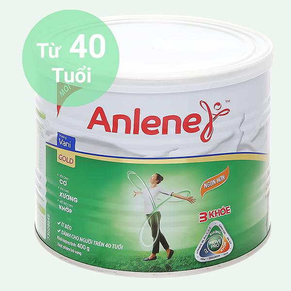 Sữa bột Anlene Gold Movepro vani ít béo hộp 400g (trên 40 tuổi)