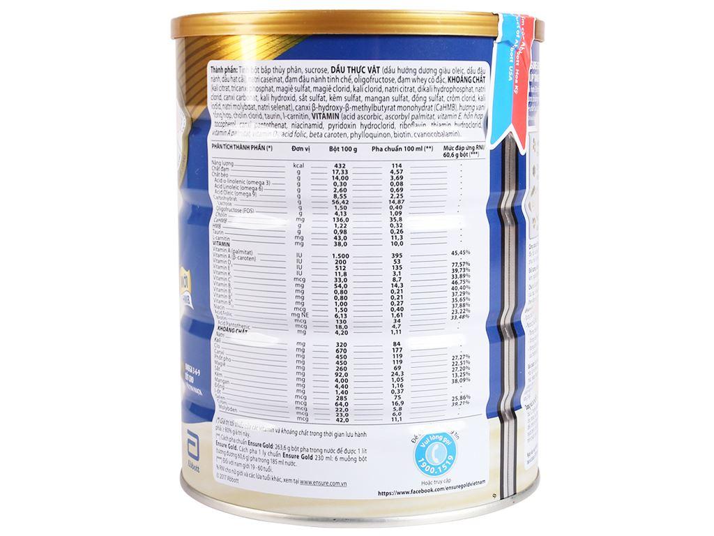Sữa bột Ensure Gold vani lon 850g 2