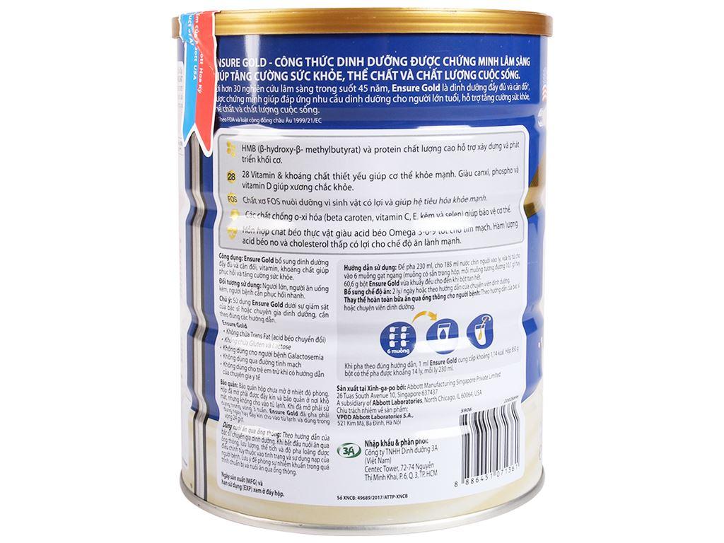 Sữa bột Ensure Gold vani lon 850g 3
