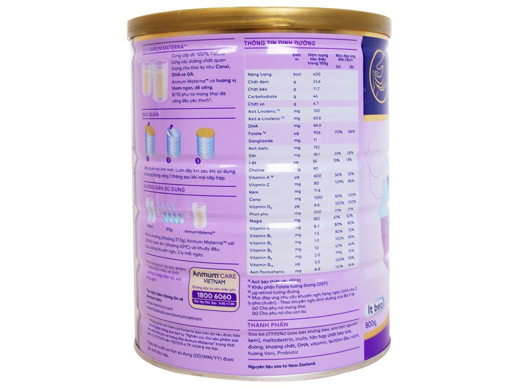 Sữa bột Anmum Materna vani ít béo lon 800g 2