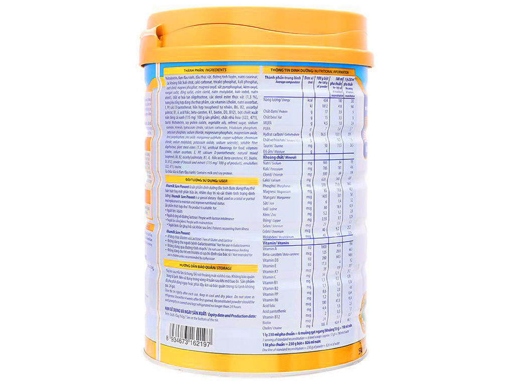 Sữa bột Vinamilk Sure Prevent lon 900g (cho người lớn tuổi) 3