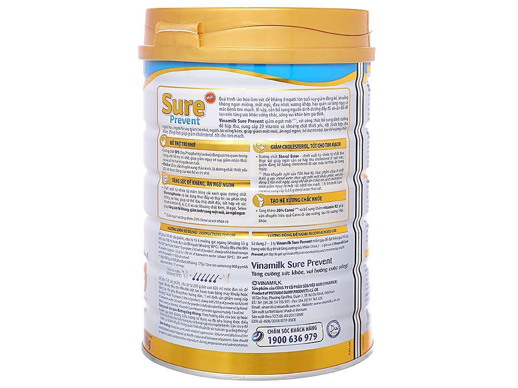 Sữa bột Vinamilk Sure Prevent lon 900g (cho người lớn tuổi) 2
