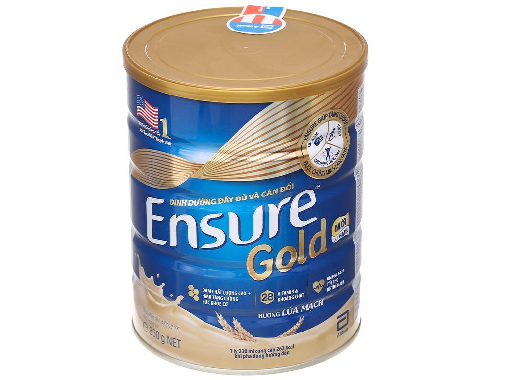 Sữa bột Ensure Gold lúa mạch ít ngọt hộp 850g 1