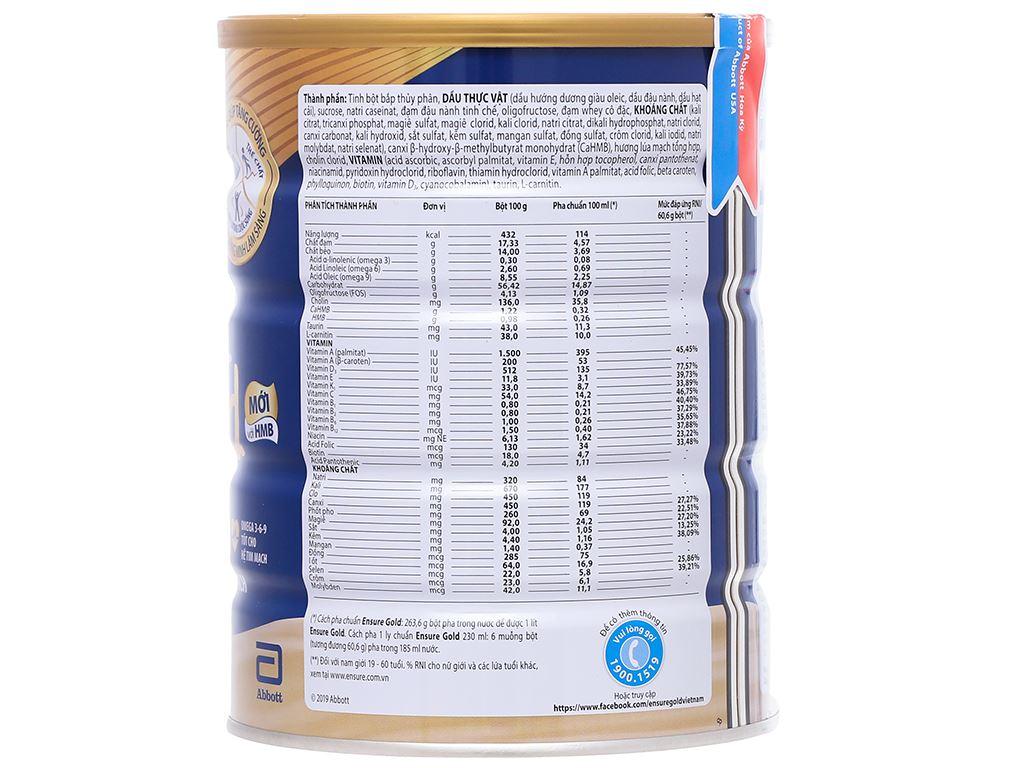 Sữa bột Ensure Gold lúa mạch ít ngọt hộp 850g 2