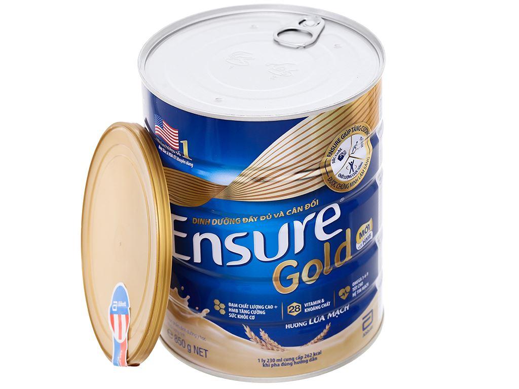 Sữa bột Ensure Gold lúa mạch ít ngọt hộp 850g 6