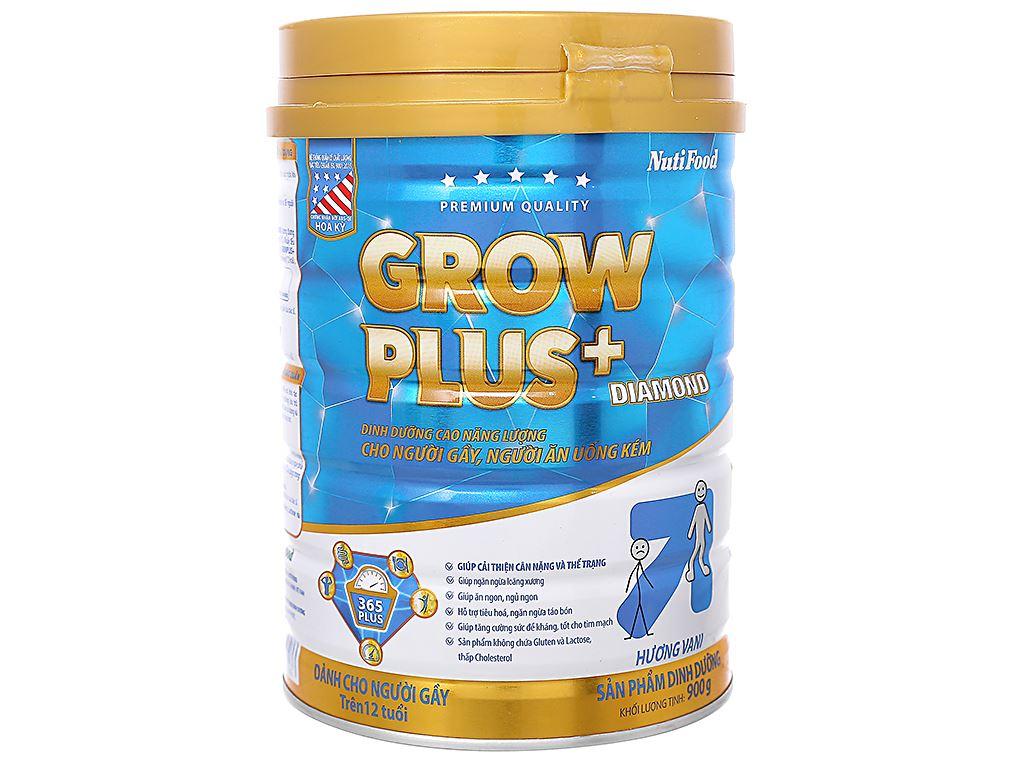 Sữa bột NutiFood Grow Plus+ Diamond hương vani lon 900g (trên 12 tuổi) 1