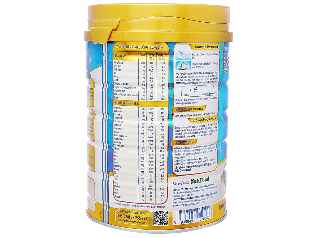 Sữa bột NutiFood Grow Plus+ Diamond hương vani lon 900g (trên 12 tuổi) 2