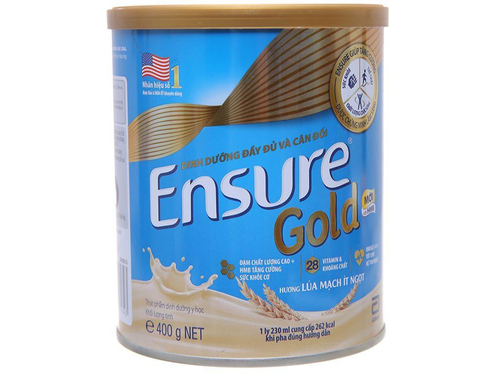 Sữa bột Ensure Gold lúa mạch ít ngọt lon 400g 1