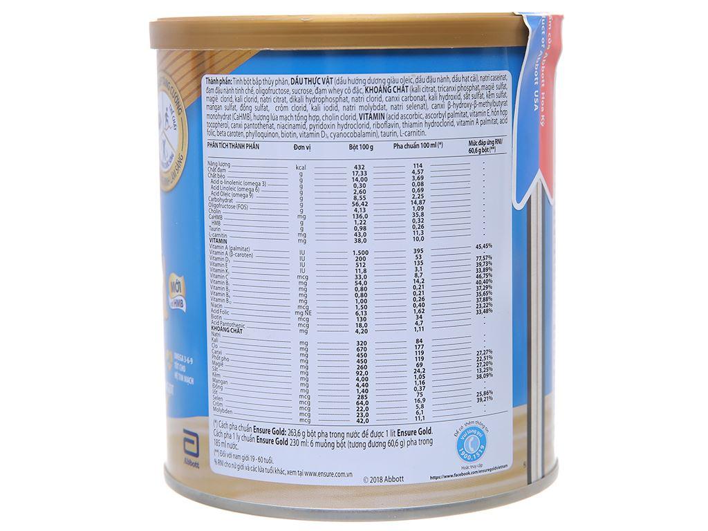 Sữa bột Ensure Gold lúa mạch ít ngọt lon 400g 2