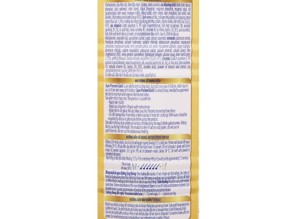 Sữa bột Vinamilk Sure Prevent Gold lon 400g 8