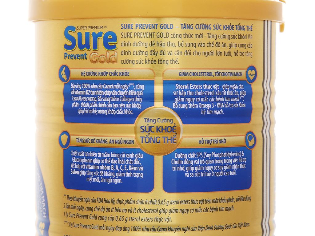 Sữa bột Vinamilk Sure Prevent Gold lon 900g 6