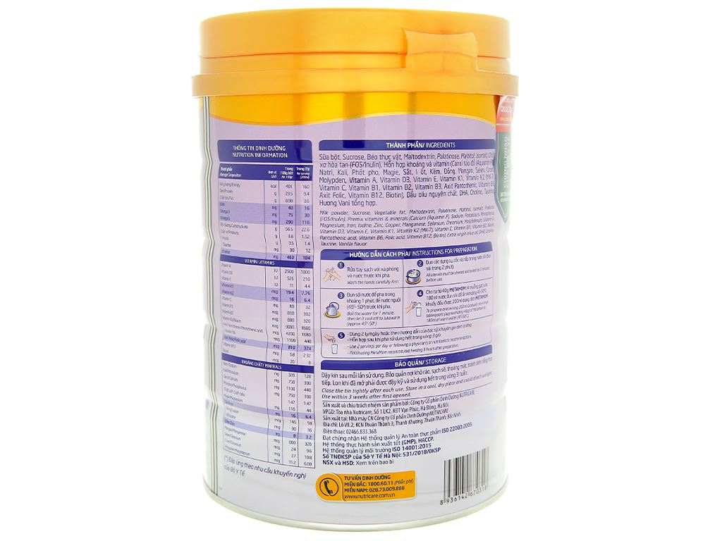 Sữa bột Nutricare MetaMom hương vani lon 900g 3