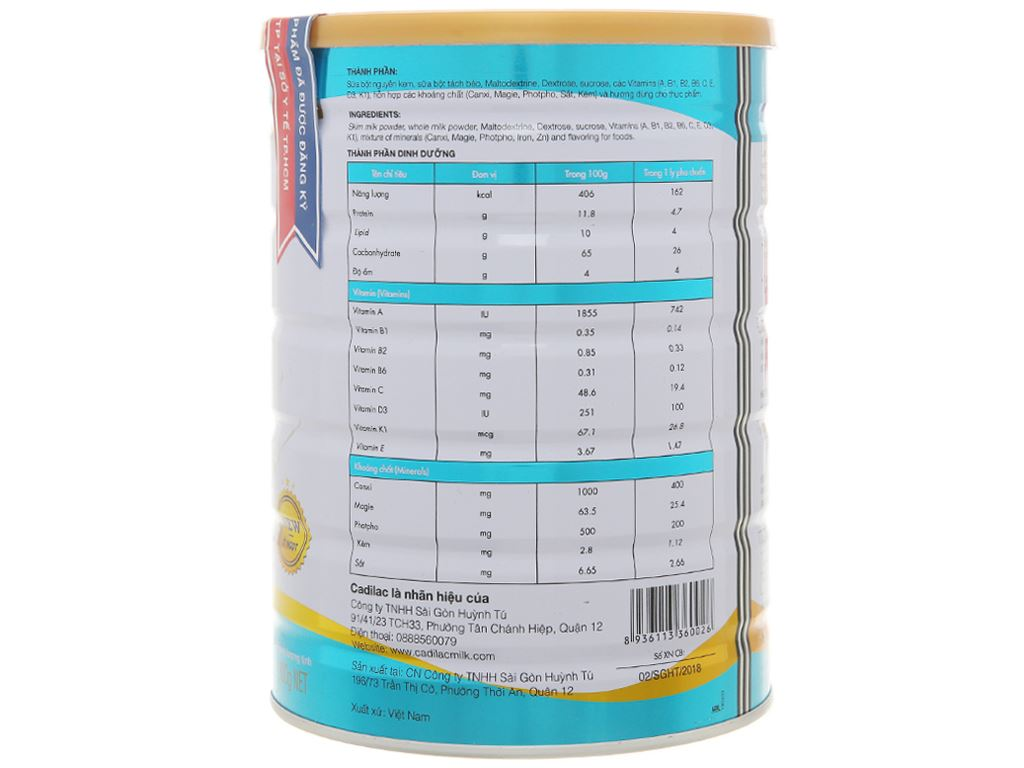 Sữa bột Cadilac Canxi lon 900g 2