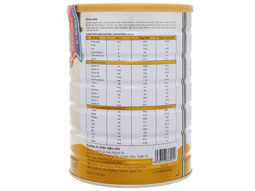 Sữa bột Cadilac Sure lon 900g 3