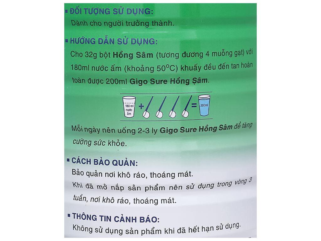 Sữa bột Gigo Sure hồng sâm lon 900g 7