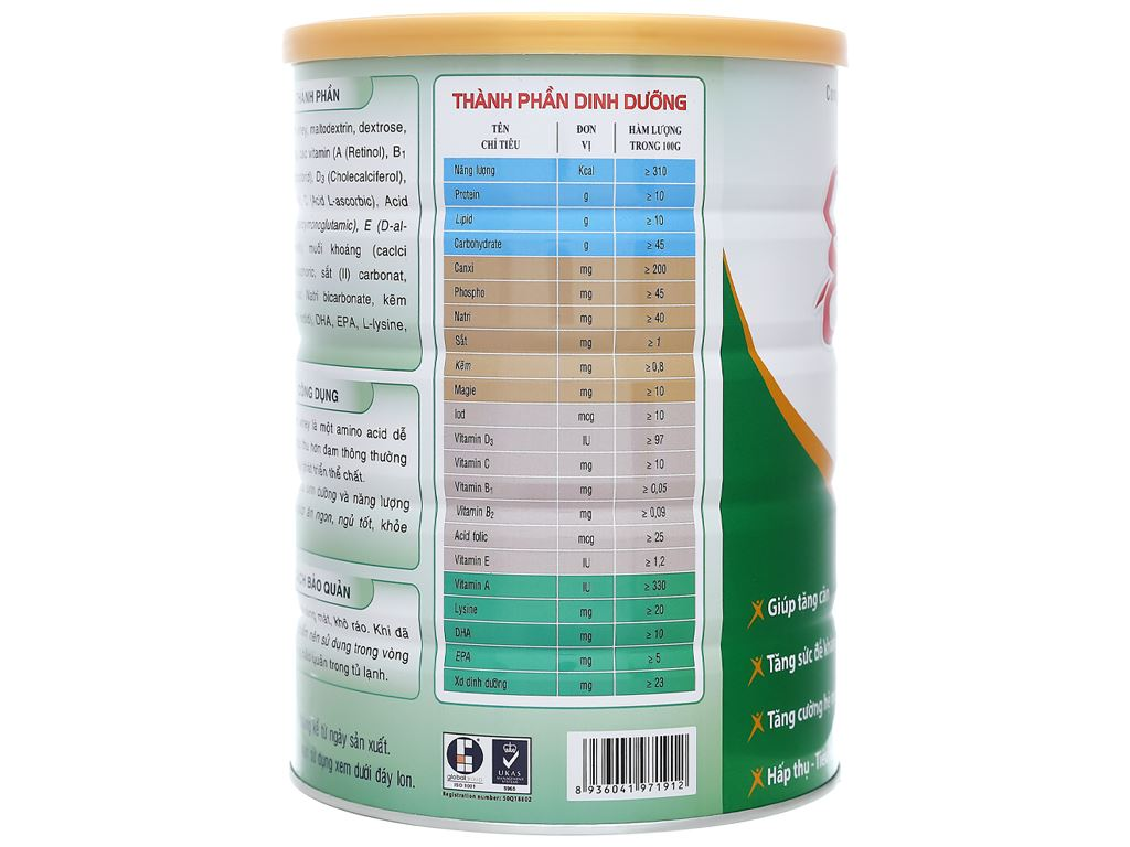 Sữa bột Gigo Gain Plus lon 900g 2