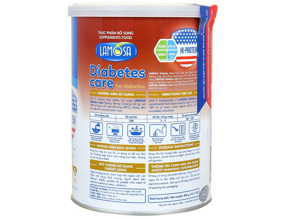 Sữa bột Lamosa Diabetes Care lon 400g 2